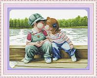 Вышивка крестиком Детский поцелуй