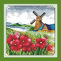 Вышивка крестом Маки и мельница