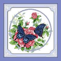 Вышивка крестом Бабочки на цветах