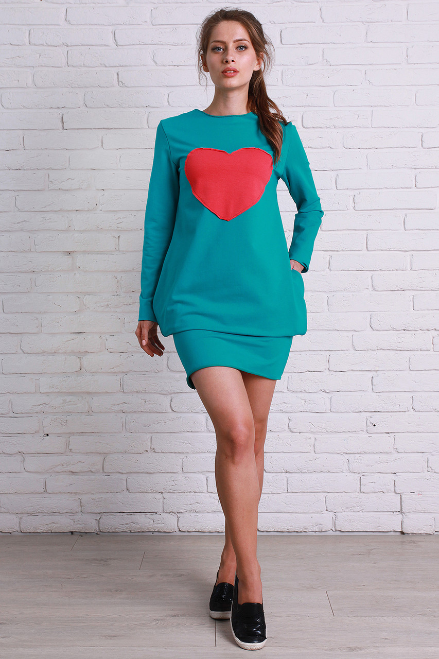 Модное бирюзовое платье
