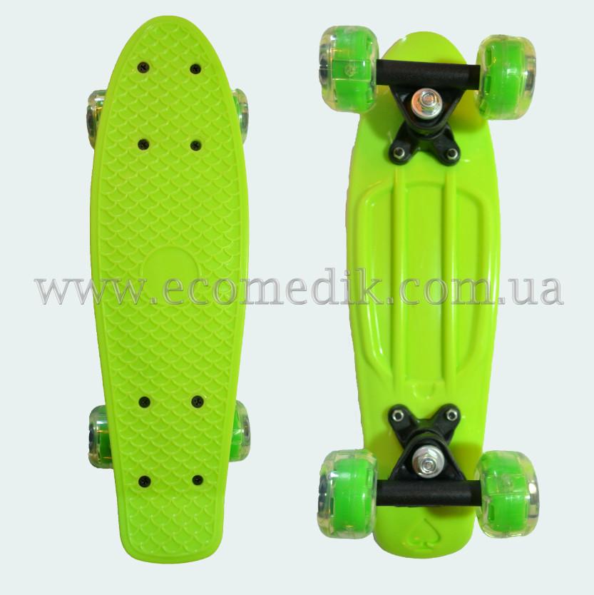 """Мини детский скейтборд пенни борд салатовый со светящимися колесами Penny Board 16"""""""