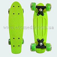 "Мини детский скейтборд пенни борд салатовый со светящимися колесами Penny Board 16"", фото 1"