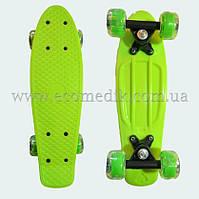 """Міні дитячий скейтборд пенні борд салатовий з світяться колесами Penny Board 16"""""""