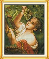 Вышивка крестом Девушка с виноградом