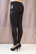 Элегантные стильные черные лосины низкой посадки, фото 3