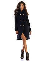 Женское кашемировое  пальто Фрак синее