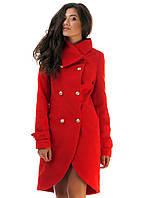 Женское кашемировое  пальто Фрак красное