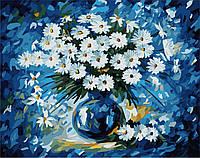 Раскраска по цифрам Ромашки на синем фоне