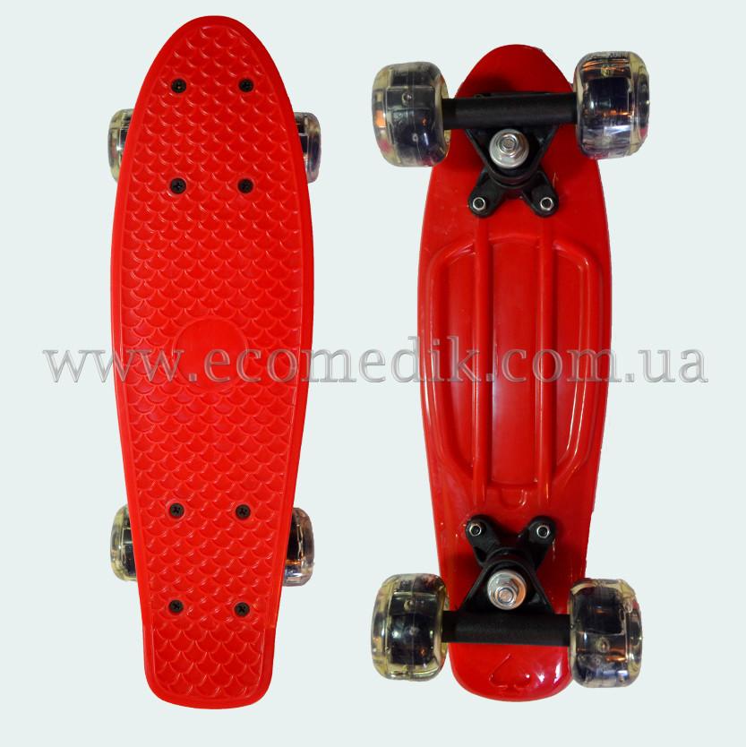 """Мини детский скейтборд пенни борд красный со светящимися колесами Penny Board 16"""""""