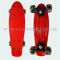 "Мини детский скейтборд пенни борд красный со светящимися колесами Penny Board 16"", фото 1"
