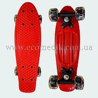 """Міні дитячий скейтборд пенні борд червоний з світяться колесами Penny Board 16"""""""