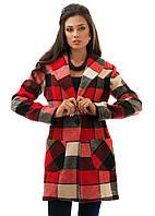 Женское кашемировое  пальто в клетку  4 цветов