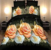 Постельное белье, комплект евро размер черный розами 3D