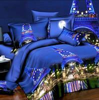 Постельное белье, комплект евро размер темно-синий Париж 3D