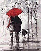 Рисование по номерам Пара под красным зонтом