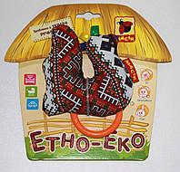 Игрушка Погремушка Птичка с колечками Этно-Эко