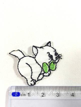 Дитяча нашивка кошеня c зеленим бантиком (small), фото 2