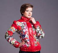 Женская куртка (осень/весна) Цветы  красная