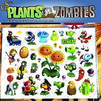 """Детские татуировки Plants vs. Zombies - """"Tatto Set""""- 34 шт., фото 1"""