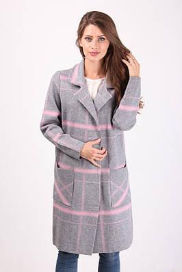 Пальто-кардиган женское в широкую клетку   продажа 4367fec18f591