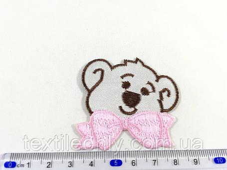 Детская нашивка мишка c розовым бантиком , фото 2
