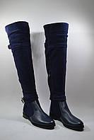 Женские ботфорты на низком ходу, натуральная кожа/натуральный замш, фото 1