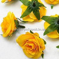 "Головы цветов ""Розочка"" d=3,5см, цена за 10 шт, цвет - желтый"