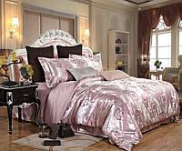 Постельное белье, комплект Евро размер сатин жаккардовый светло-розовый с принтом