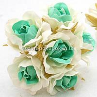"Цветок ""Роза двухцветная"" тканевая (цена за букет из 6 шт) Белый с ментооловым, фото 1"