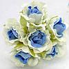 "Цветок ""Роза двухцветная"" тканевая (цена за букет из 6 шт) Белый с голубым"