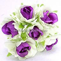 "Цветок ""Роза двухцветная"" тканевая (цена за букет из 6 шт) Белый с фиолетовым, фото 1"