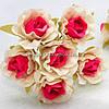 "Цветок ""Роза двухцветная"" тканевая (цена за букет из 6 шт) Белый с малиновым"