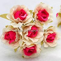 "Цветок ""Роза двухцветная"" тканевая (цена за букет из 6 шт) Белый с малиновым, фото 1"