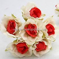 """Цветок """"Роза двухцветная"""" тканевая (цена за букет из 6 шт) Белый с красным"""
