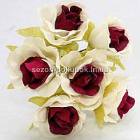 """Цветок """"Роза двухцветная"""" тканевая (цена за букет из 6 шт) Белый с пурпурным"""