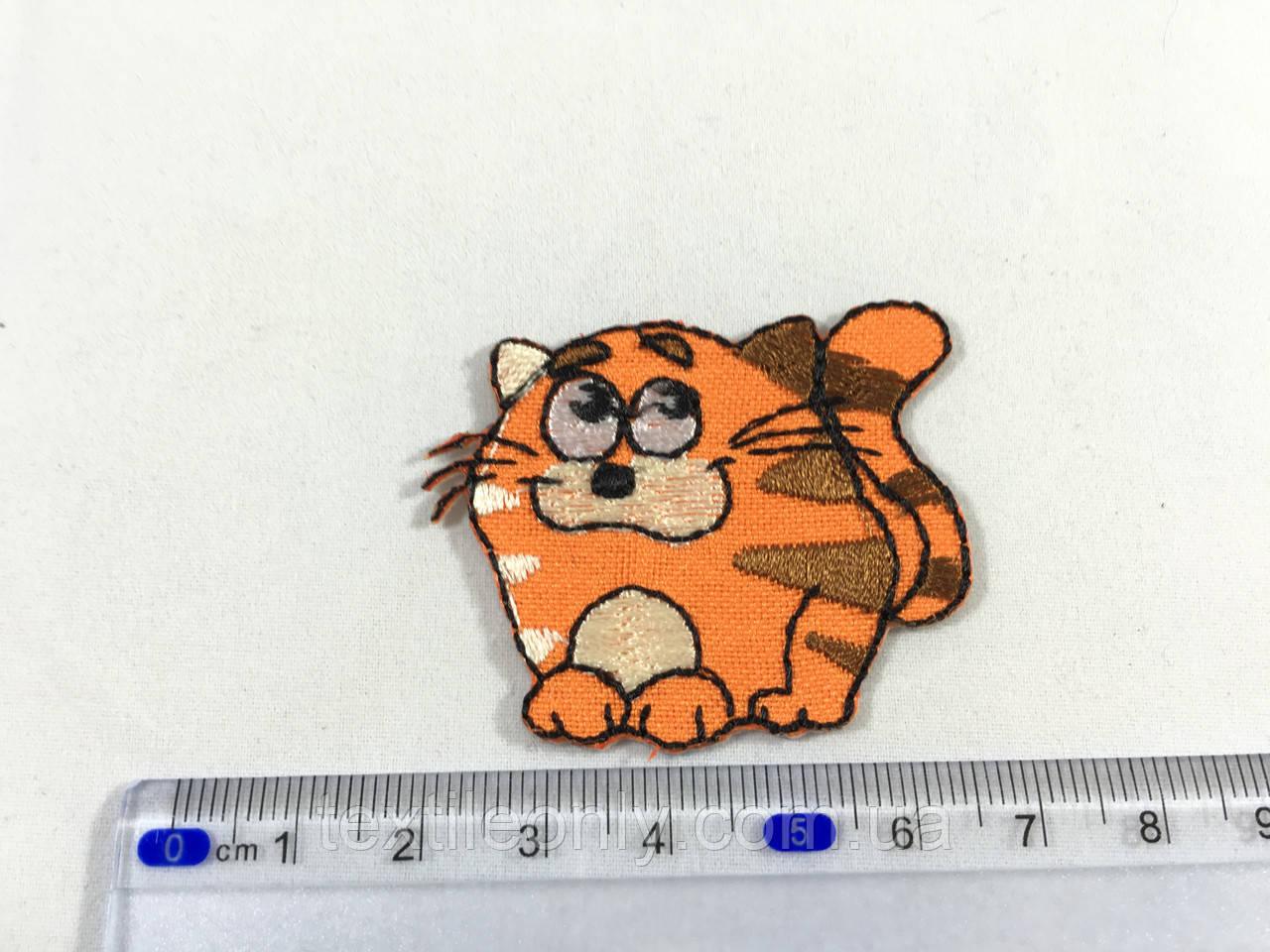 Дитяча нашивка хитрий кіт колір помаранчевий
