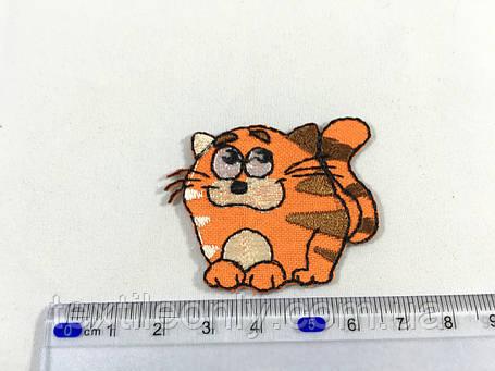 Дитяча нашивка хитрий кіт колір помаранчевий, фото 2