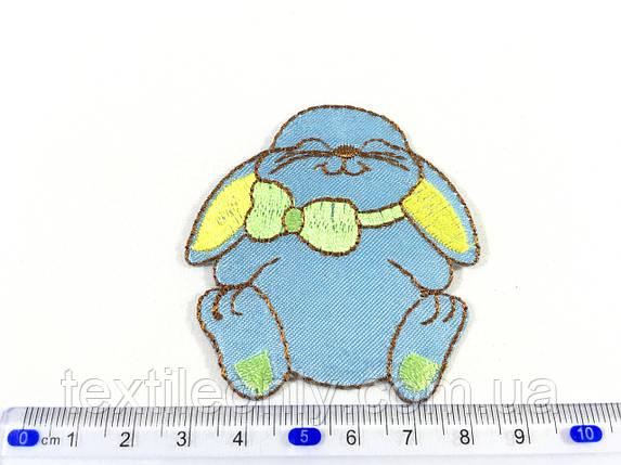 Детская нашивка довольный зайка цвет бирюзовый, фото 2