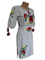 """Барвиста вишиванка жіноча плаття """"Мак-волошка"""" (великі розміри)"""