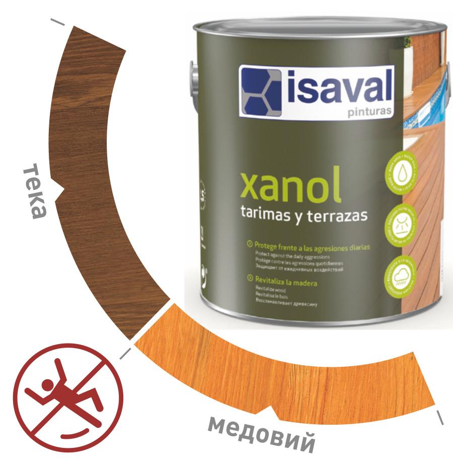 Водоотталкивающая лазурь для древесины Ксанол для полов и террас ISAVAL 2,5л≈30м²/слой