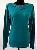 Женская нарядная кофта мягкий стрейч, зеленого цвета размер 52-54