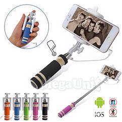 Карманный Монопод для селфи с кнопкой, провод. Для iPhone и Android (палка для селфи) 14см мини