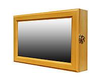 Ключница настенная деревянная 36х22см с зеркалом