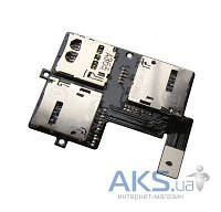 Шлейф для HTC Desire 600 Dual Sim с коннектором SIM-карты и карты памяти