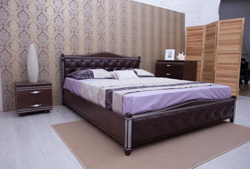 Кровать деревянная с мягким изголовьем и изножьем Прованс Микс мебель, цвет темный орех / венге + патина