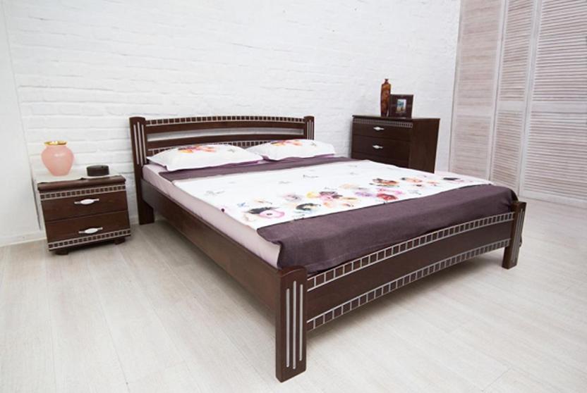 Ліжко двоспальне дерев'яне Пальміра Мікс меблі, колір темний горіх + патина срібло