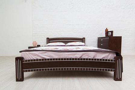 Ліжко двоспальне дерев'яне Пальміра Мікс меблі, колір темний горіх + патина срібло, фото 2