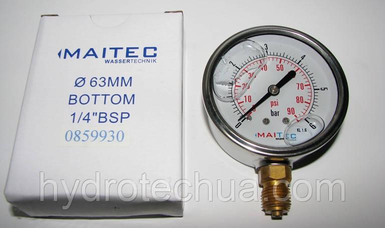 """Манометр радиальный глицериновый MAITEC (1/4"""") 0 - 6 бар"""