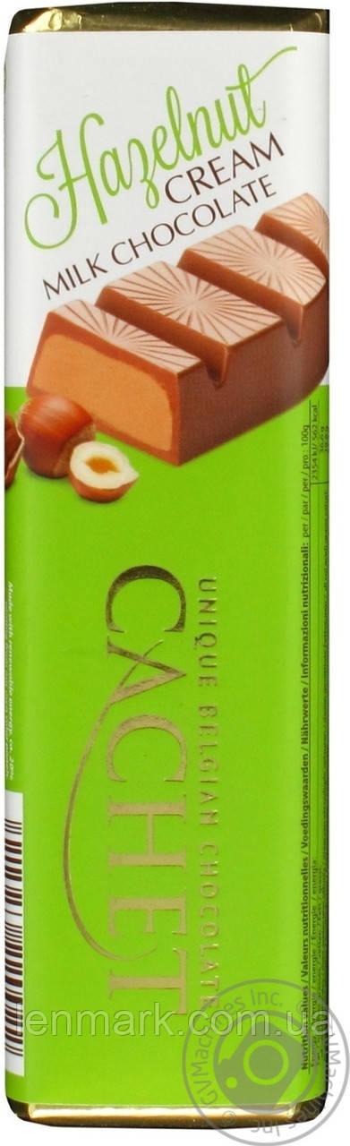 Шоколадный батон Unique Belgian Chocolate CACHET Hazelnut Cream Milk Chocolate с ореховым кремом, 75 г