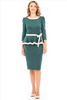 Платье женское  с модным оформлением волан